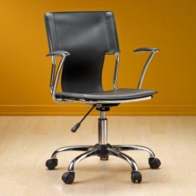 Asenti silla escritorio con brazos cromada negra for Silla escritorio con brazos