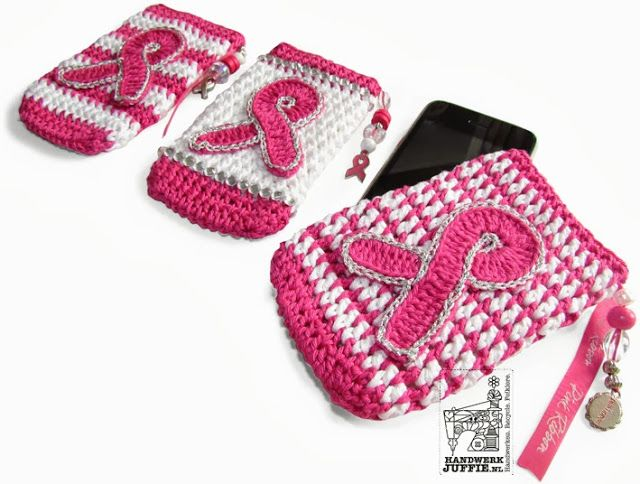 NEEDLEWORK missy: PINK RIBBON - Crochet a phone case  ☀CQ #crochet #crafts #how-to #DIY.  Thanks so much for sharing! ¯\_(ツ)_/¯