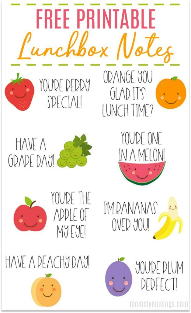 Free Printable Lunchbox Notes for Kids images