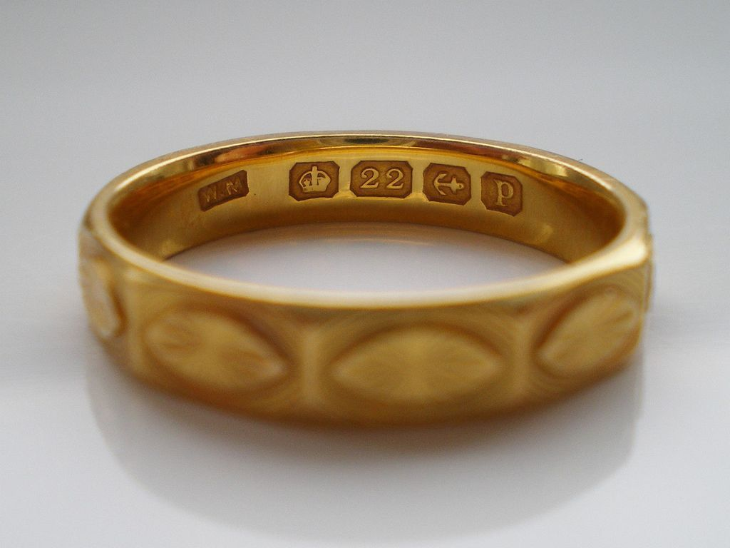 Rare Antique Art Deco 22ct Solid Gold Decagon Wedding Ring HM 1914