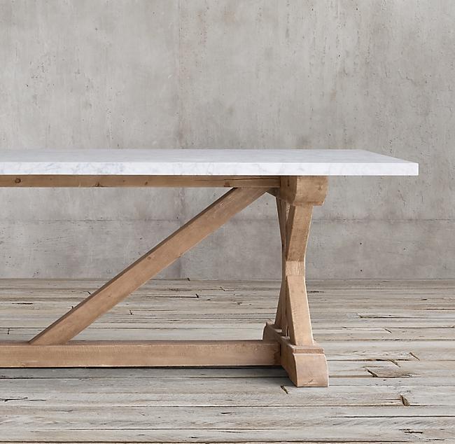 Salvaged Wood Marble X Base Rectangular Dining Table Marmor Esstische Rechteckiger Esstisch Couchtisch Marmor