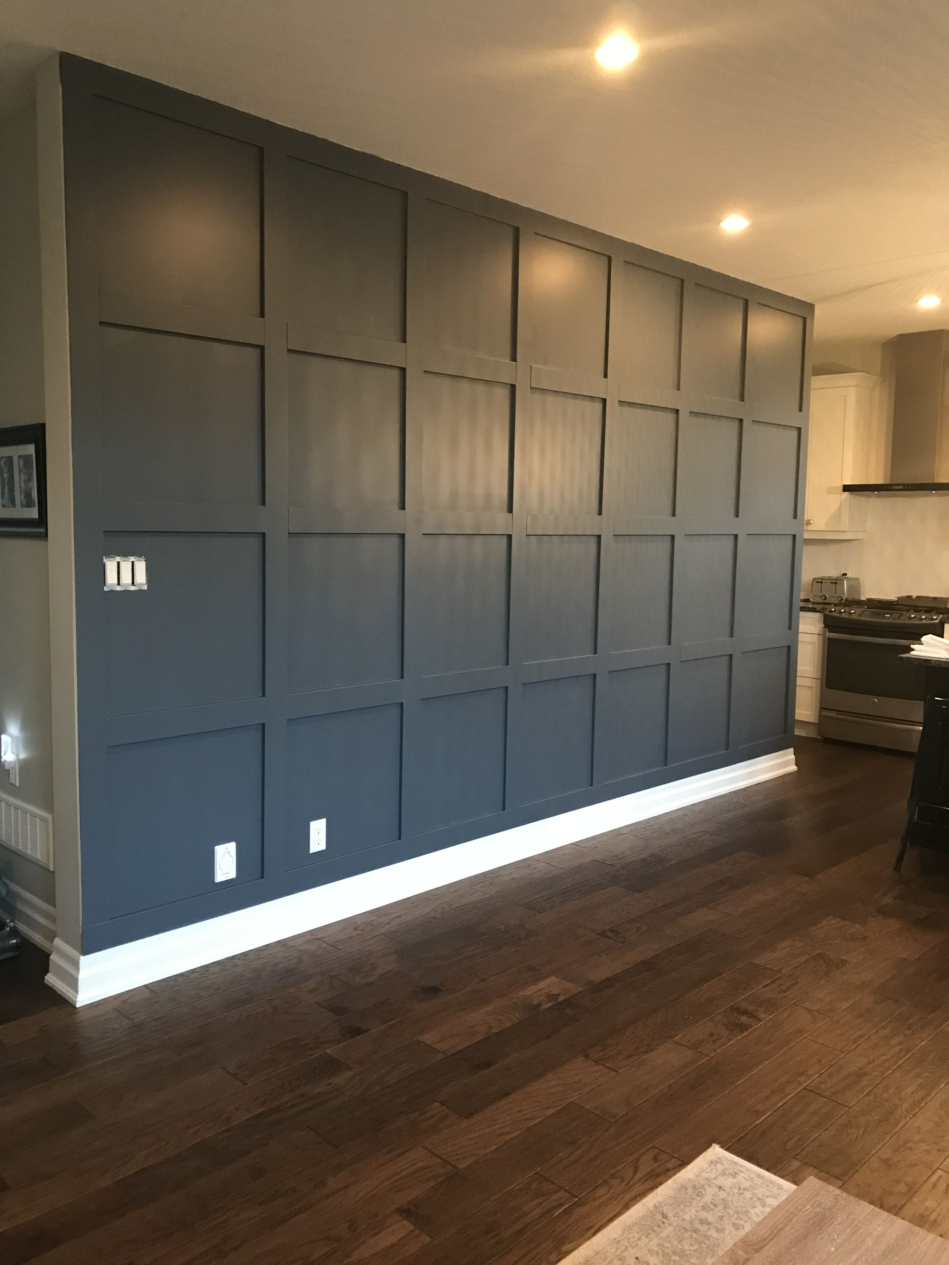 Wood Panel Accent Wall In Benjamin Moore Evening Dove Accent