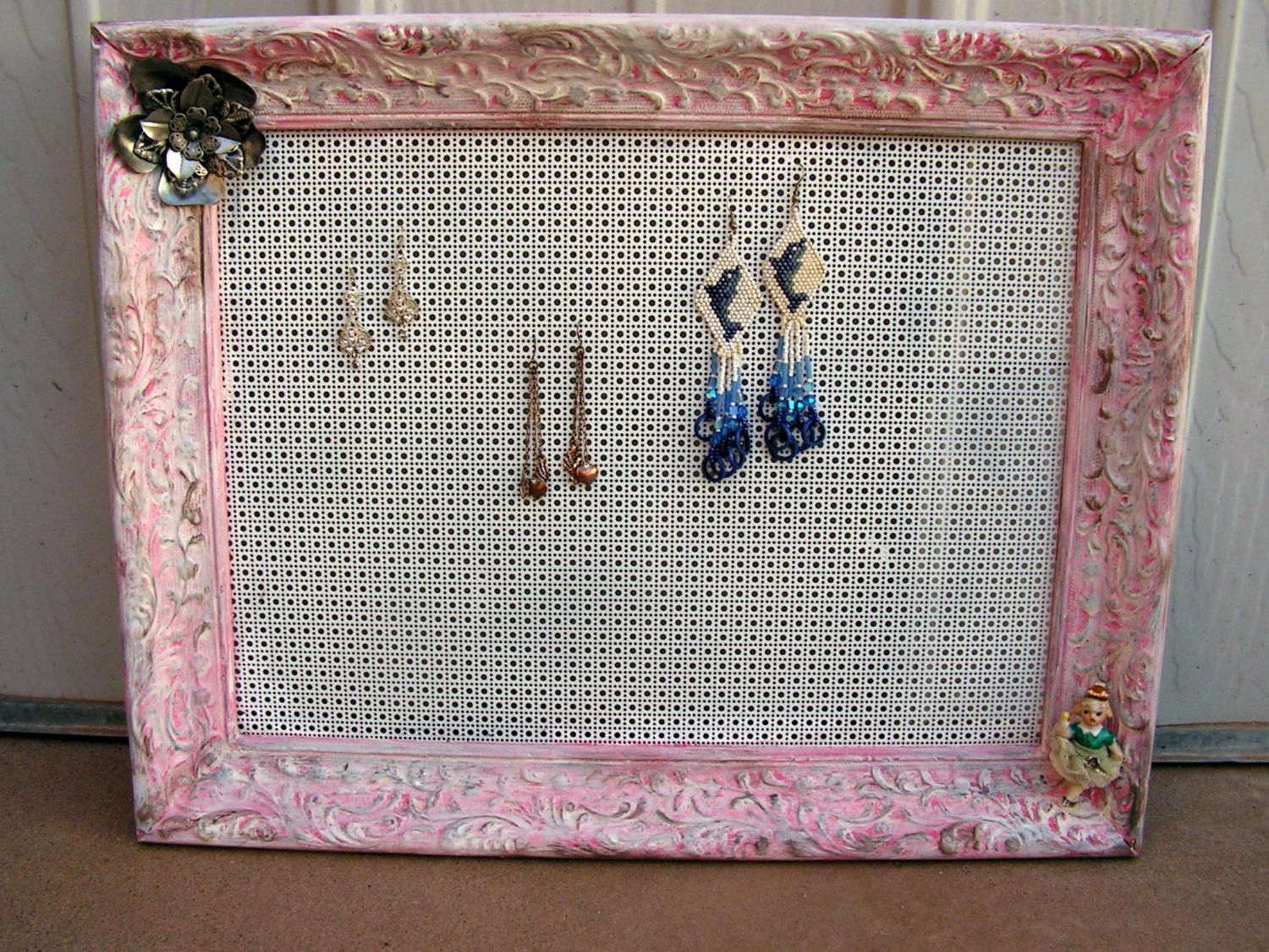 French Country Wooden Picture Frame EARRING Hanger HOLDER Pink White Shabby Chic Wall Hanging Painted Distressed Upcycled Decor