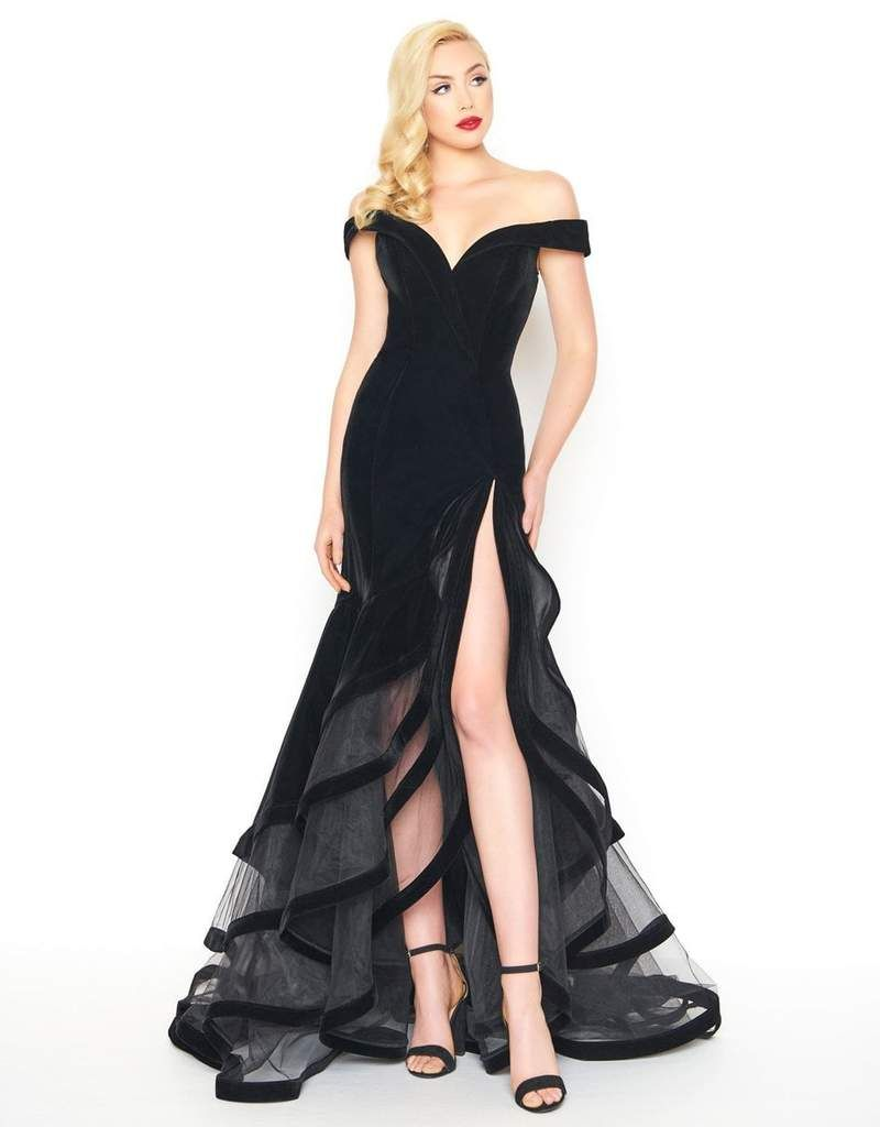 8dc8fb61a50c4 Mac Duggal - 66586R Velvet Off-Shoulder Layered Trumpet Dress in Black