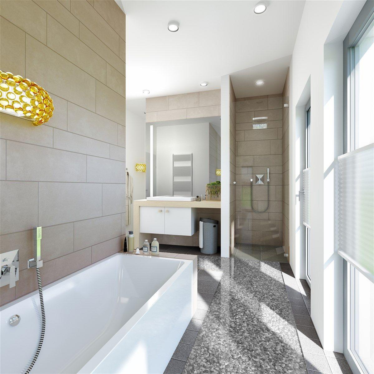 Eine Grosse Fensterfront Im Bad Mit Sichtschutz Auf Der Richtigen
