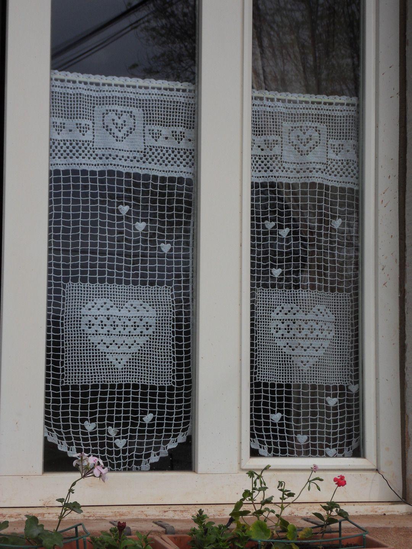 Rideau crochet fait main taille XL le coeur en médaillon | VALANCES ...