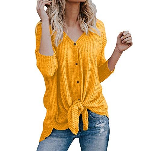 f4aa85e7a930d VonVonCo Womens Loose Knit Tunic Blouse Tie Knot Henley Tops Bat ...
