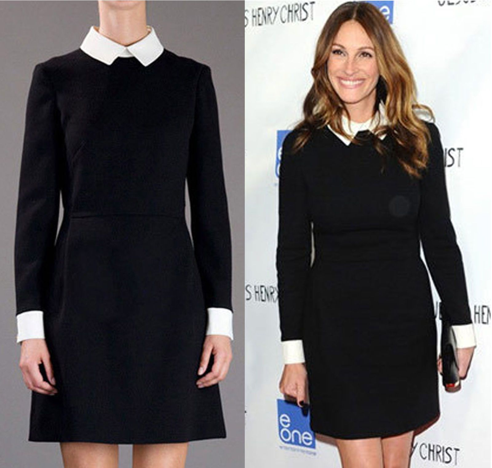 ef5a792812 Womens Black Block Shift White Collar Cuff Fit Long Sleeve Peter Pan Mini  Dress in Clothes