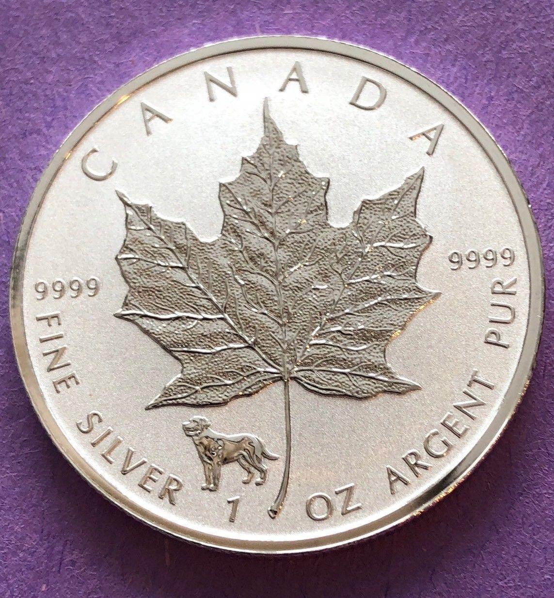 2018 1 oz Silver Canadian Maple Leaf Lunar Dog Privy .9999 Fine $5 Coin BU