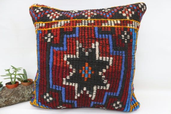 Turkish Kilim Pillow, 18x18 Rustic Pillow, Pillow Covers, Red Pillow, Wholesale Pillow, Embroidered