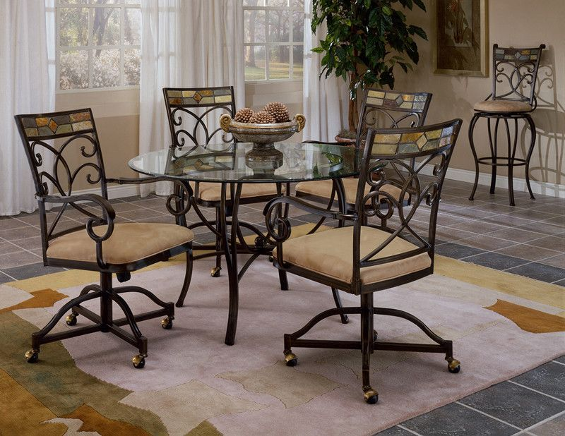 Hillsdale Pompei 5 Piece Metal Dining Table Set W/Caster Chairs 4442DTBCWC