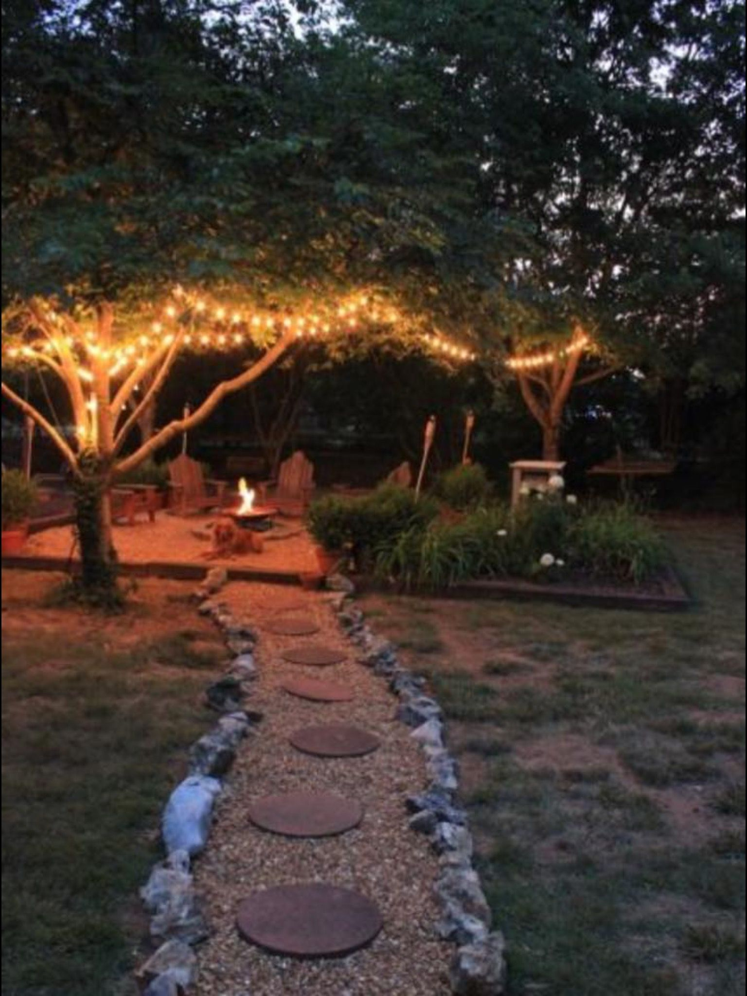 walkway tree lights home firepit pinterest walkways lights