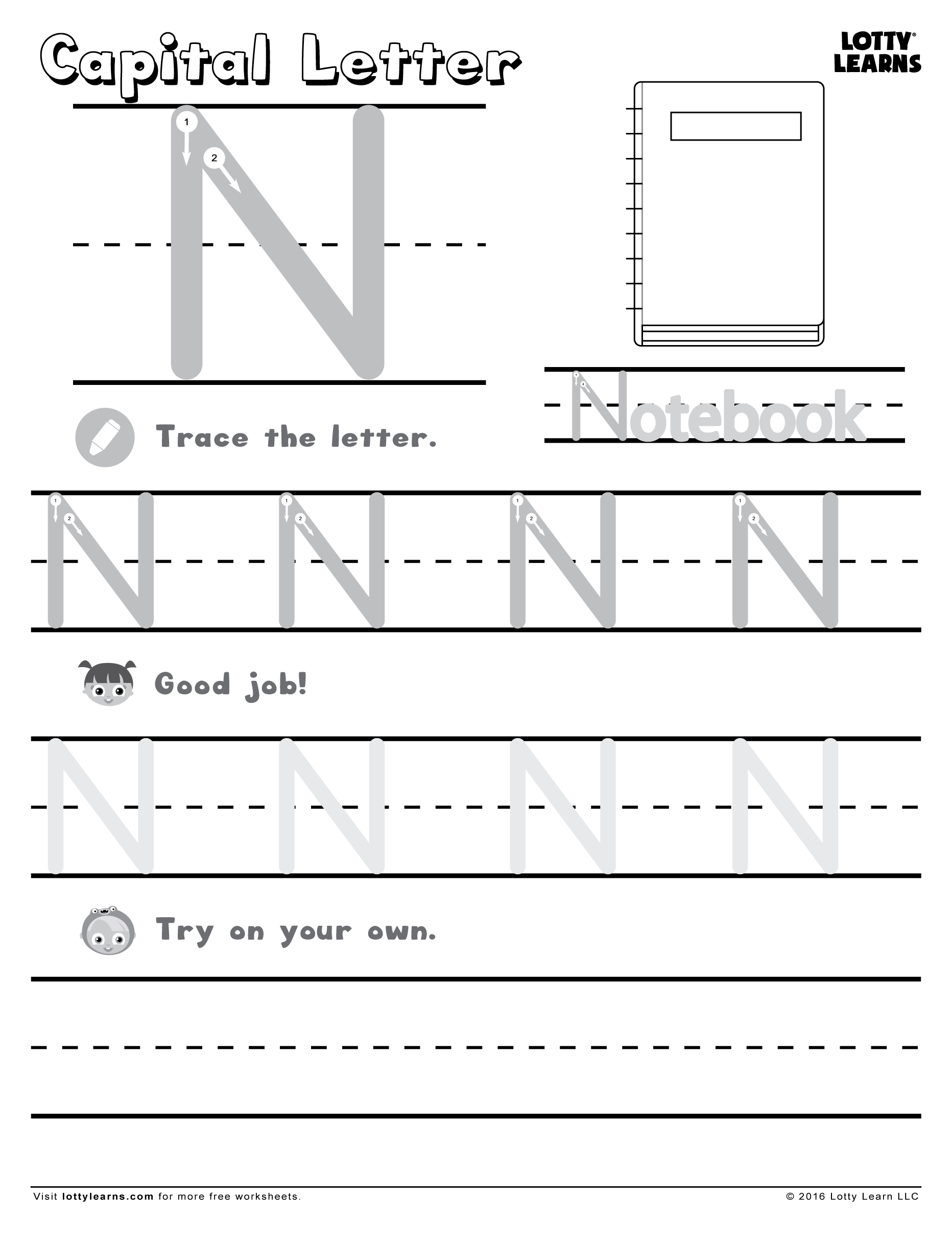 Capital Letter N Lotty Learns Letter Writing Practice Alphabet Practice Sheets Alphabet Practice