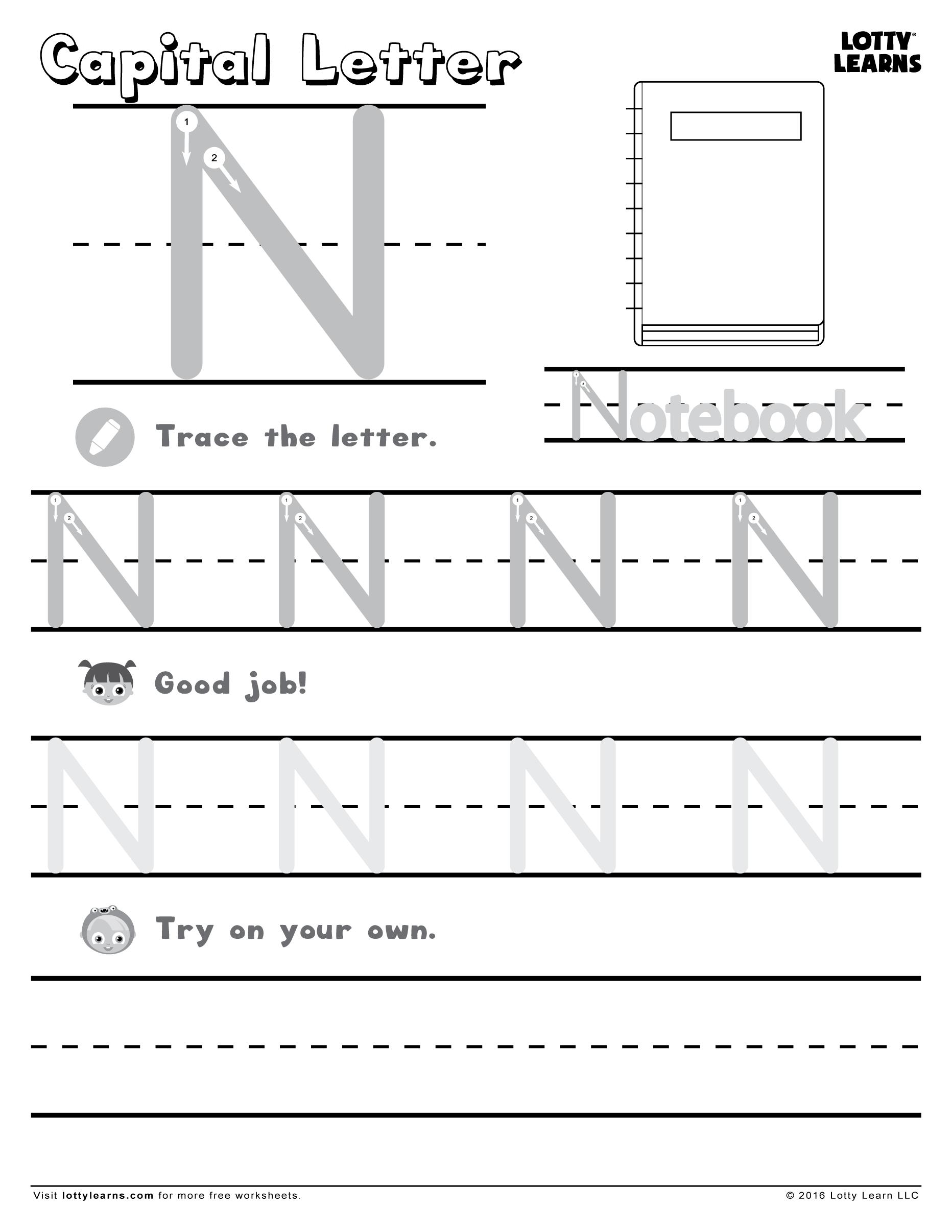 Capital Letter N