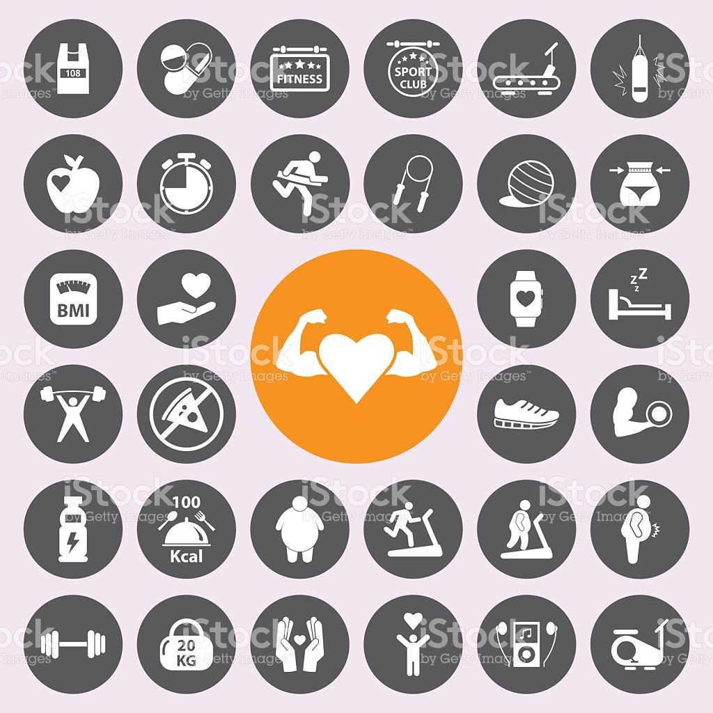 Healthy And Fitness Icon Set Vector Fitness Icon Fitness Club Fitness