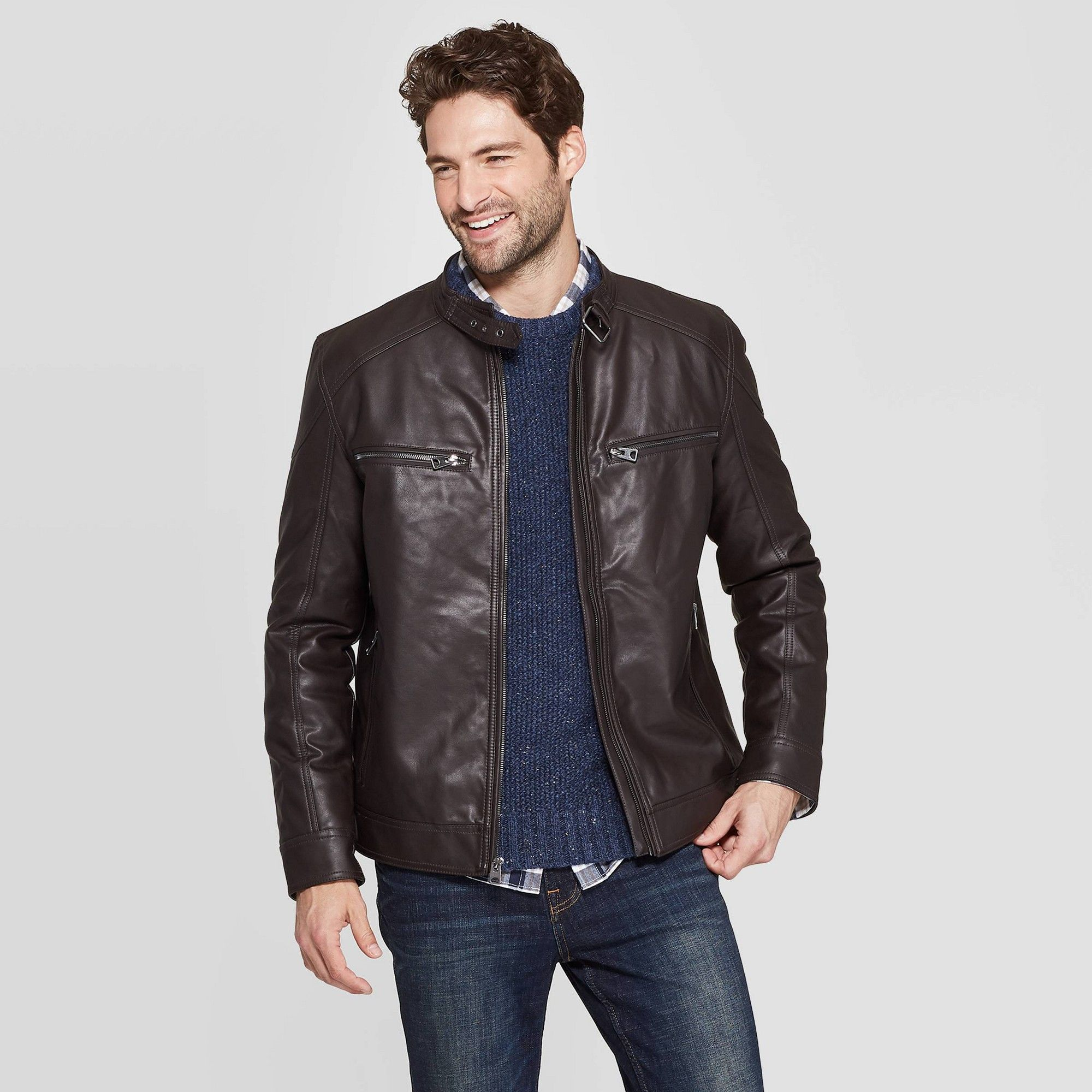 Men's Midweight Faux Leather Moto Jacket Goodfellow & Co