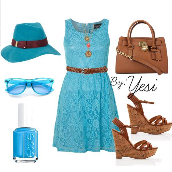 Camel y turquesa, vestido corto ideal para coctel o look de playa. 65