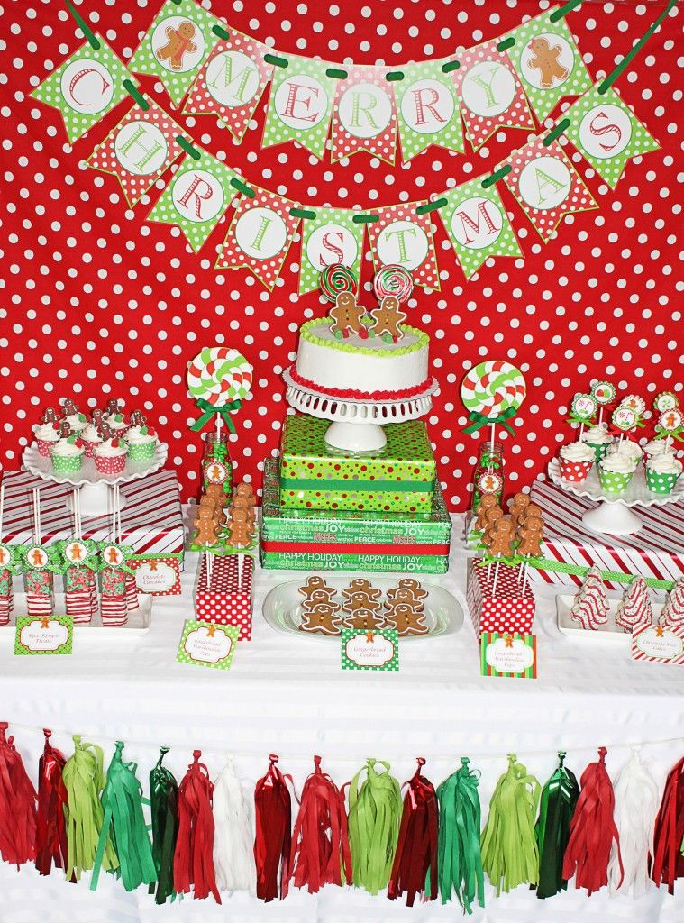 red and green gingerbread man christmas party