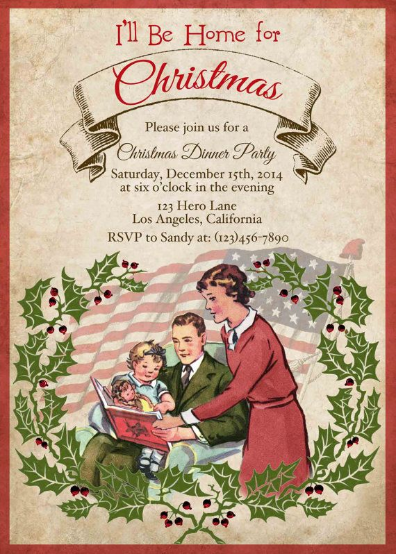 military vintage retro christmas party invitation by cupiddesigns