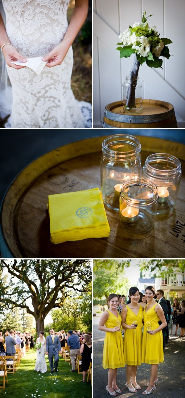 Lots to love: the lace on the dress, the garden setting and the lanterns