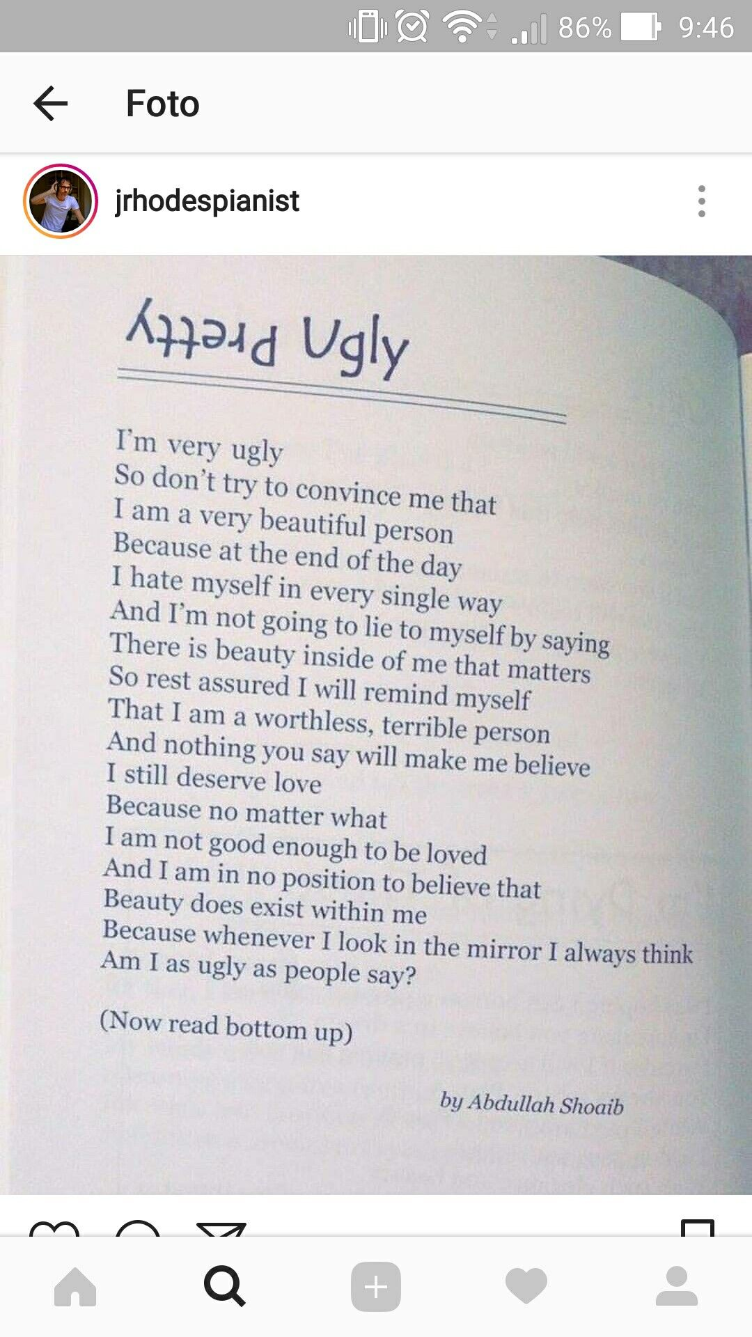 Poema James Rhodes Instagram Ugly Pretty Poetry Poems Live Your Life