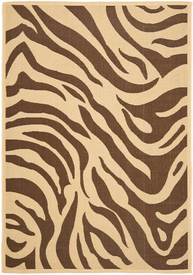 Zebra Cream / Chocolate Outdoor Area Rug