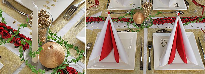 D Coration De Table Rouge Blanc Et Or D Co Table Noces D 39 Or Projets Essayer Pinterest