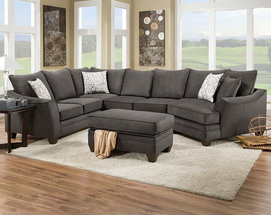 Best Gray Contemporary Modern Sectional Flannel Seal 3 Pc 640 x 480