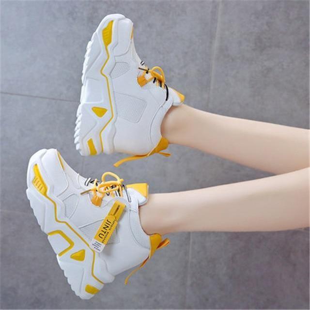 Women Sneakers Trainers Platform Wedges Chunky Sneakers Black Sneak...