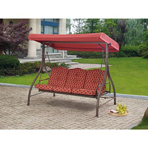 Outdoor 3 Triple Seater Hammock Swing Glider Canopy Patio Deck Red