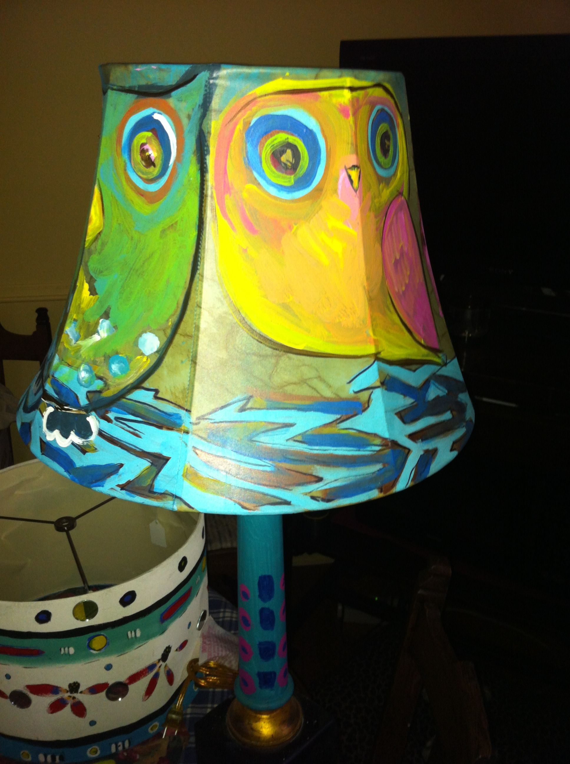 I love owls. I painted this lamp and shade in acrylic ...