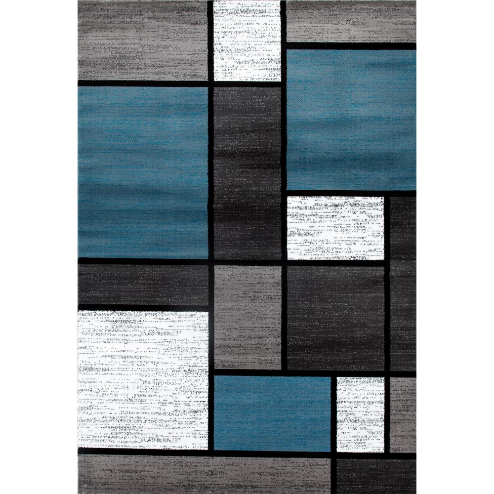 null Contemporary Modern Boxes Blue/Gray 5 ft. 3 in. x 7 ft. 3 in ...