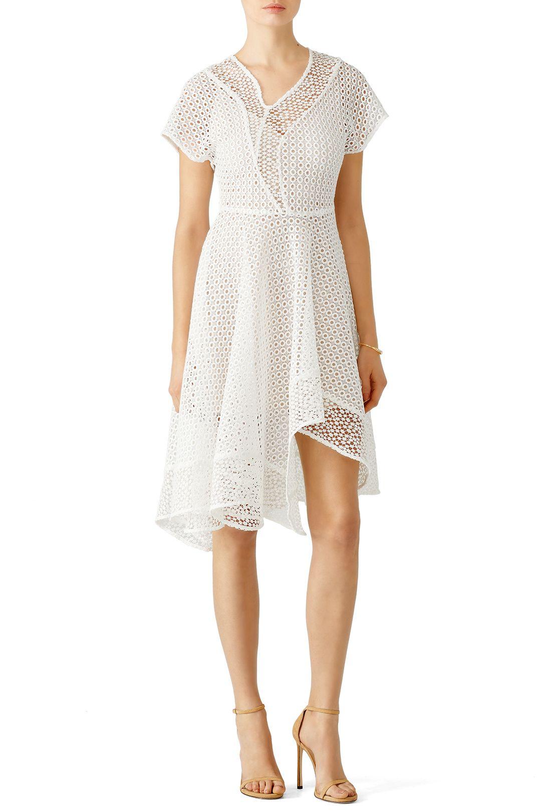 White Asymmetrical Eyelet Dress Dresses, Wedding attire