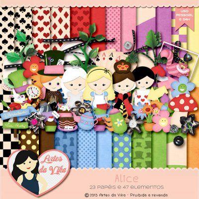 Kit Digital Alice By Vika Matos Digital Scrapbook Paper Alice
