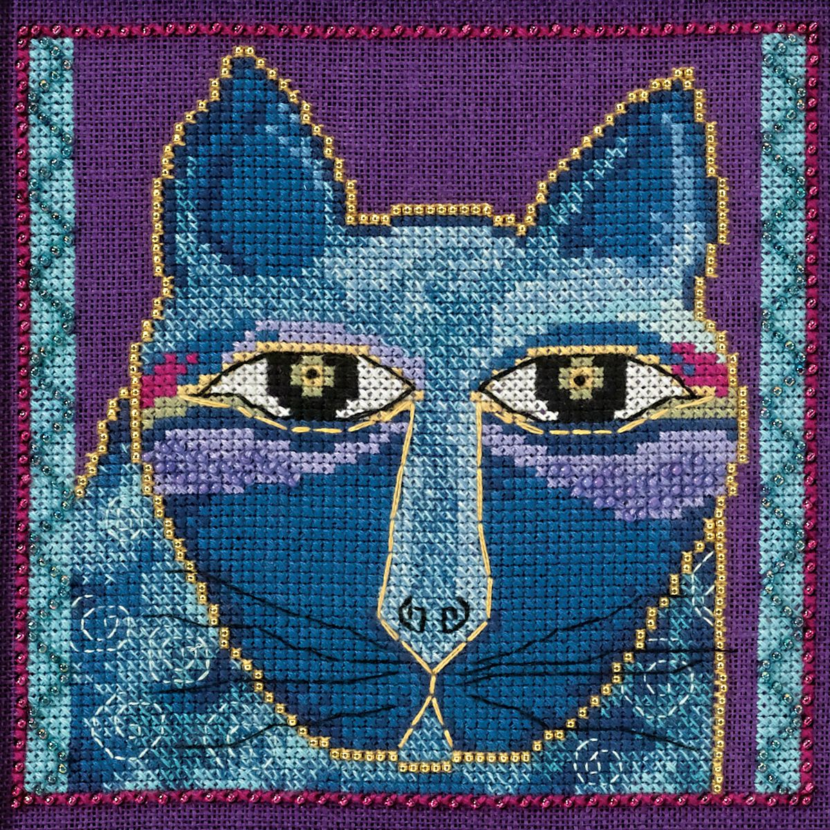 Embroidery & Cross Stitch Laurel Burch Wild Blue Cat On