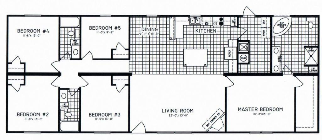 5 Bedroom Floor Plan C 8108 Hawks Homes Manufactured Modular Conway Little Rock Arkansas Garage Floor Plans Floor Plans Modular Home Floor Plans