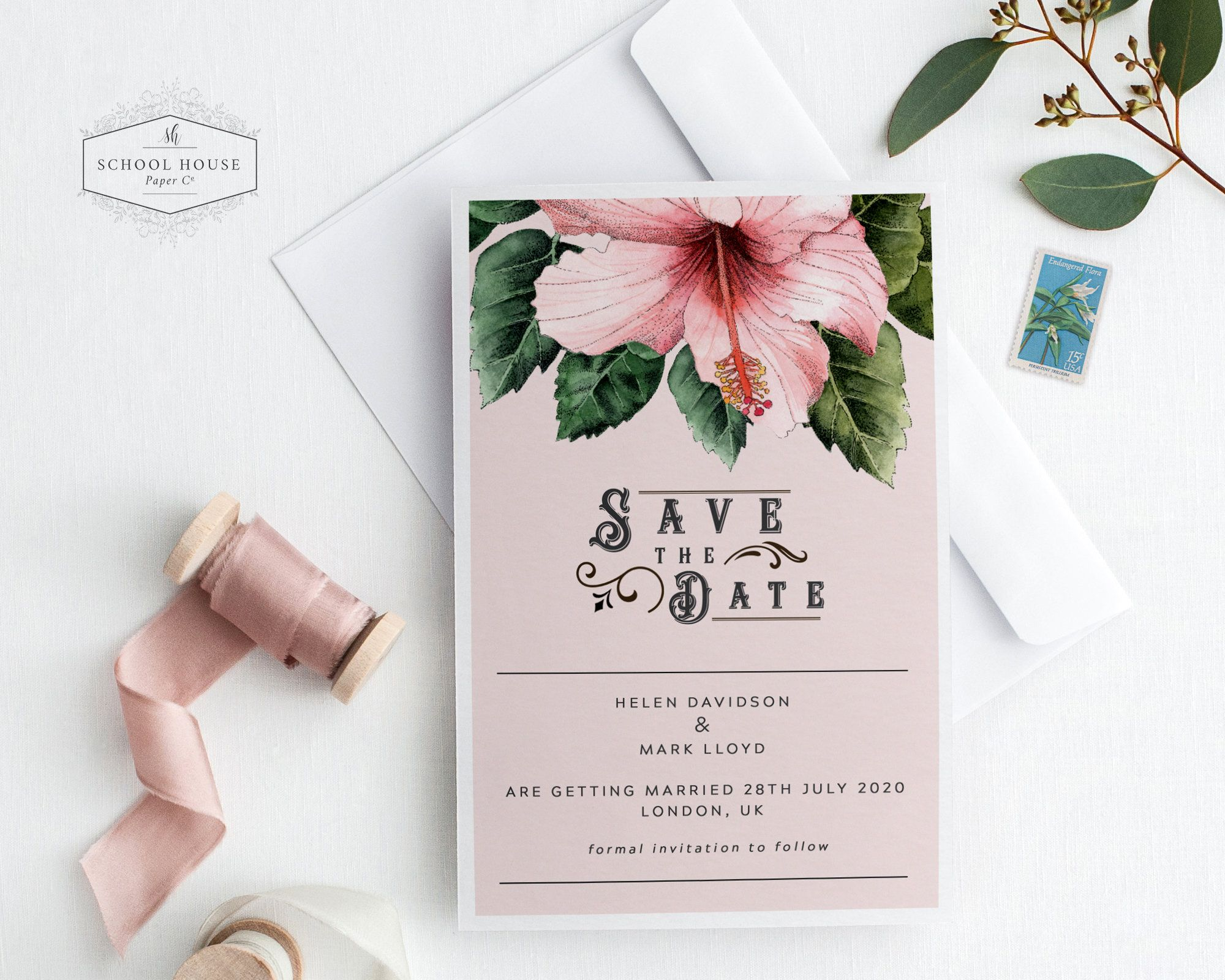Save The Date Printable Hibiscus Save The
