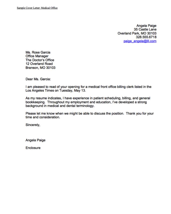 Sample Cover Letter Medical Office http