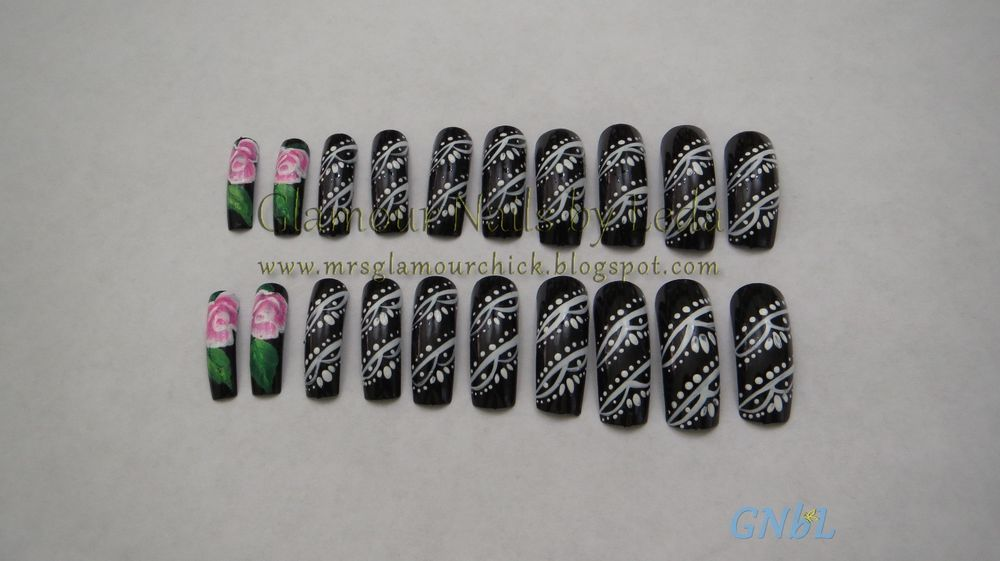 20 full well nail tips Black nails with White lace art and Pink and ...