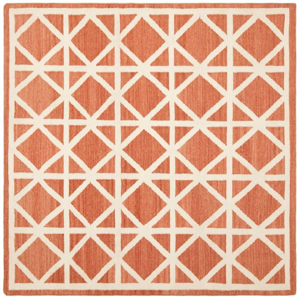 Safavieh Dhurries Red/Ivory 8 ft. x 8 ft. Square Area Rug-DHU558A-8SQ - The Home Depot
