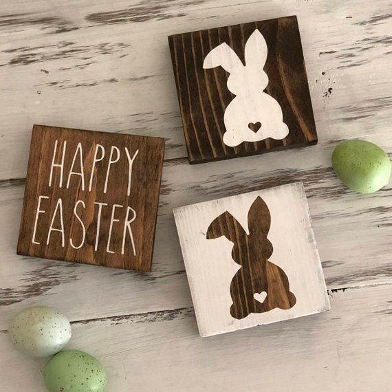 Easter Tiered Tray Mini Wood Signs Happy Easter Wooden Sign Rustic Chic Decor Easter Bunny Gift Idea Mini Wood Sign Rae Dunn Style