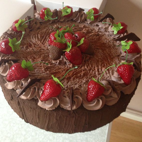 Items Similar To Artificial Chocolate Strawberry Gateaux Fake Cake On Etsy