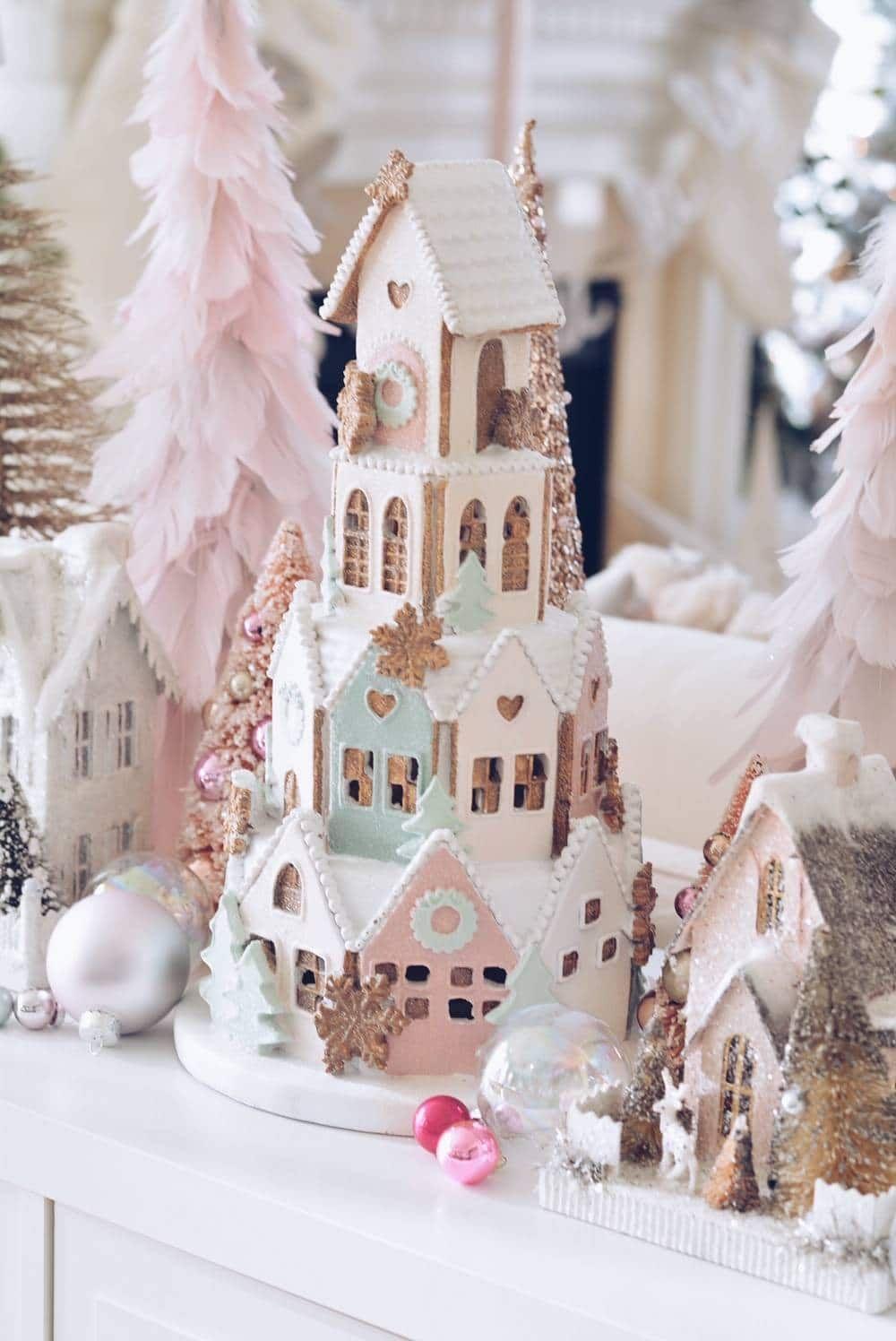 A Pink Christmas Wonderland Gingerbread House Gingerbread Village Christmas Decora Pink Christmas Decorations Christmas Wonderland Pink Christmas Background