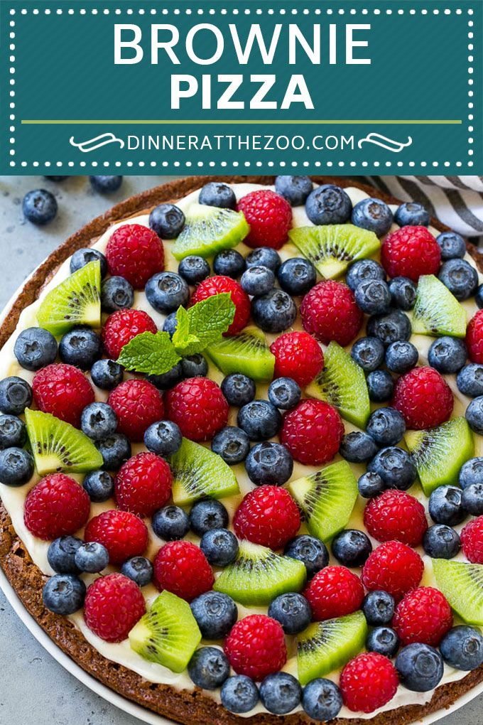 Brownie Pizza Recipe  Fruit Pizza  Dessert Pizza
