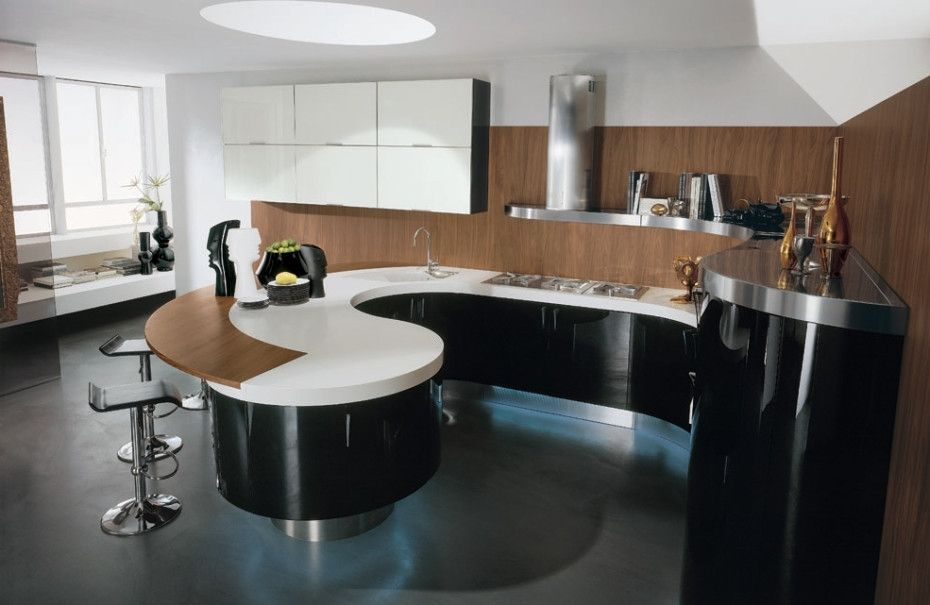 Kitchen Contemporary Curved Kitchen Island And Modern Bar Stool
