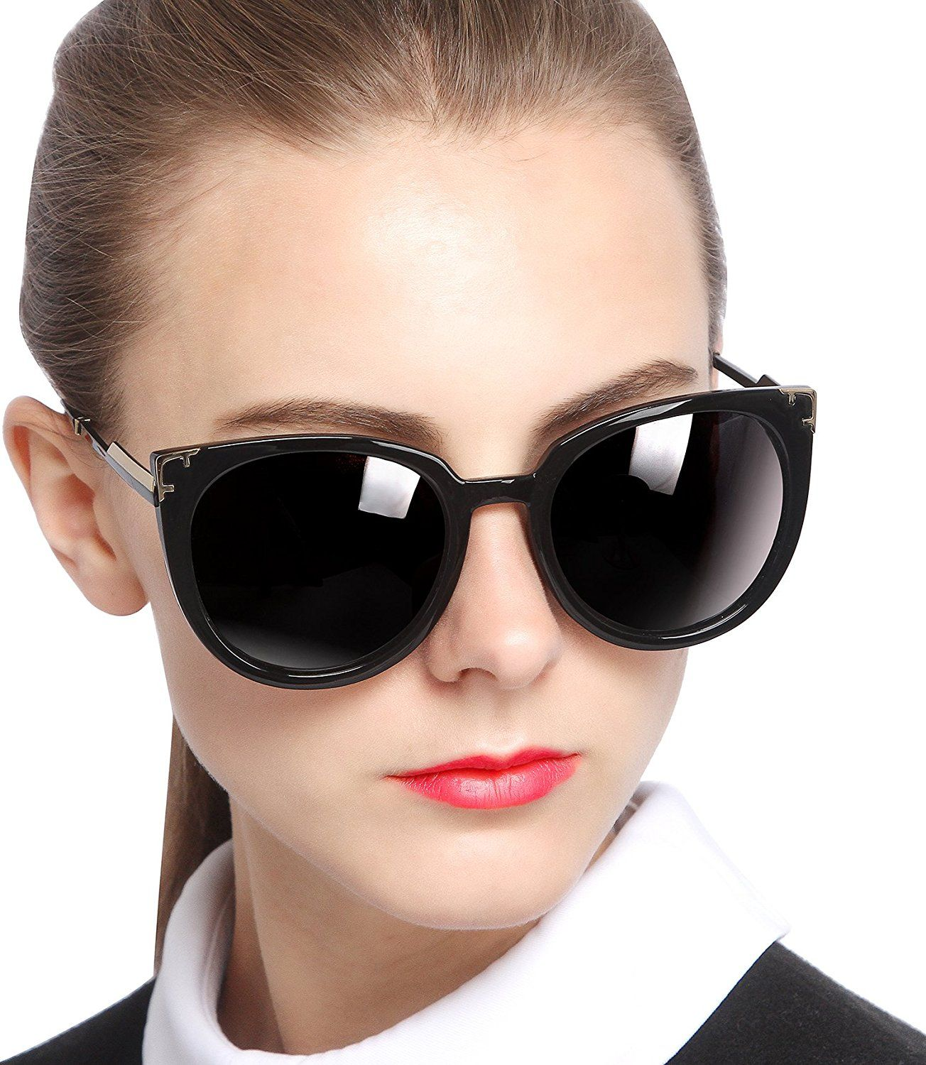 0854d81ff SIPLION Women's Fashion Retro Wayfarer Sunglasses For Women 100% Polarized  UV Protection 7605 Black: