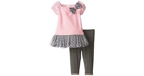 Amazon.com: Youngland Baby Rosa Floral De Las Niñas a Gris Dot Leggings juego, Rosado/Gris: Clothing