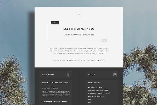 Web Developer CV \/ Tech CV Resume Design Pinterest Web - web developer resume