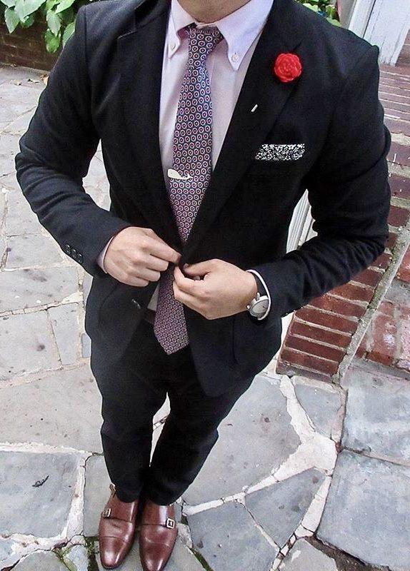 Pink suit men, Black suit pink shirt