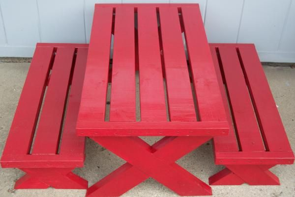 Build A Modern Childs Picnic Table Or X Benches Do It